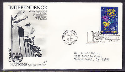 """United Nations """"Fleetwood"""" 1967 - 5c Independence First Day Cover addressed"""