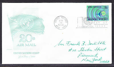 """United Nations """"Artmaster"""" 1968 - 20c Airmail  FDC  addressed"""