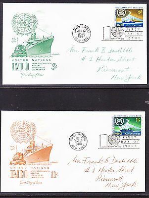 """United Nations """"Artmaster"""" 1964 - Maritime Organisation TWO FDC  addressed"""
