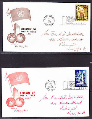 """United Nations """"Artmaster"""" 1965 - Reissue Definitives #2 TWO  FDC  addressed"""