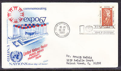 """United Nations """"Fleetwood"""" 1967 - Expo Truth  First Day Cover addressed"""