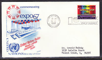 """United Nations """"Fleetwood"""" 1967 - 8c Expo First Day Cover addressed"""
