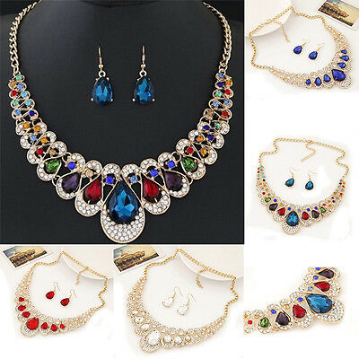 Fashion Women Gold Plated Chain Necklace Earrings Crystal Rhinestone Jewelry Set