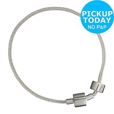 Sterling Silver Charm Carrier Solid Chain Bracelet with Stopper Bead :Argos
