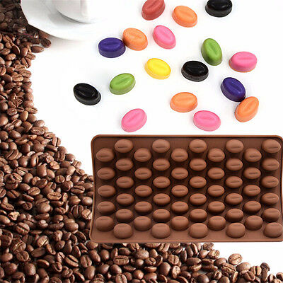 55 Mini Coffee Bean Shape Silicone Mould Cake Chocolate Candy Bakeware Mold New