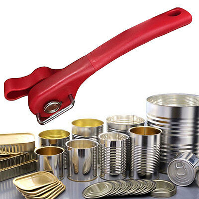 Ergonomic Smooth Edge Side Cut Manual Tin Can Opener Cans Lid Lifter Red Black