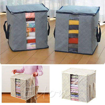 Folding Bamboo Charcoal Clothes Sweater Blanket Closet Organizer Storage Box Bag