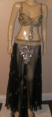 Egyptian hand-made 2-Pieces Bra & Skirt Belly Dance Costume