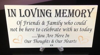 """In Loving Memory Wedding Book Gift Reception Cake Table Plaque Sign """"With Stand"""""""