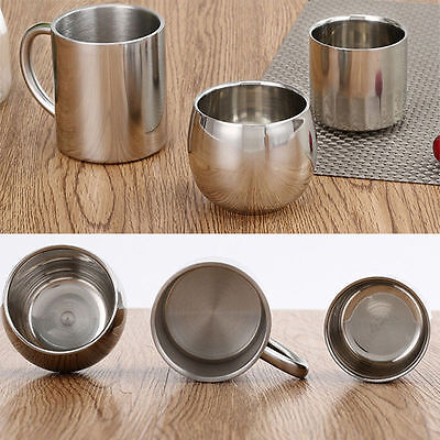3 Types Double Wall Stainless Steel Insulated Coffee Mug Beverage Hot Tea Cup
