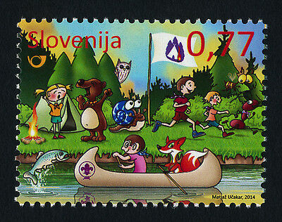 Slovenia 1039 MNH - Scouting, World Scout Conference, Canoe, Fish, Animals