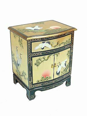 Gold Leaf with Crane Design Side Cabinet Lacquered Oriental Furniture Bedside