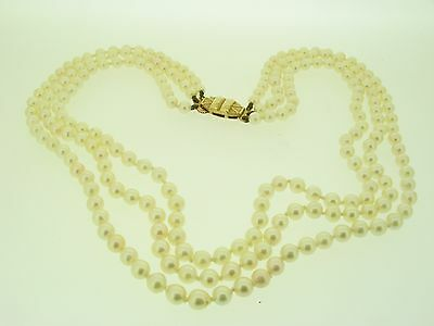 - Triple Row Of Cultured Pearls - Vintage - Gold Clasp -