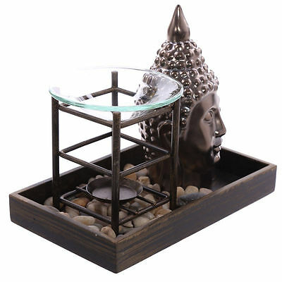 Lucky Buddha Tray Oil Burner Warmer Fragrance Gift Set Melt Wax Home Aroma Calm