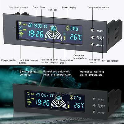 """5.25"""" Bay Front LCD Panel 3 Fan Speed Controller CPU Temperature Sensor Computer"""