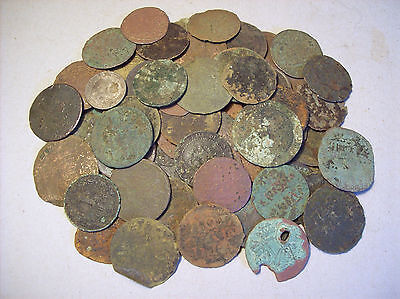 Big lot low grade scrap coins metal detecting finds. Unresearched, uncleaned.