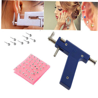 Professional Steel Ear Nose Navel Body Piercing Gun 72pcs Studs Tool Kit Set BH