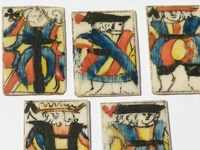 Antique 5 Rare Mini Playing Cards KING QUEEN JACK - NAPOLEONIC Prisoner War #N60
