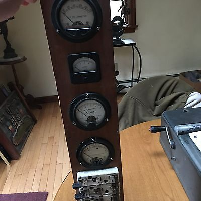 antique  Hickok 4  Gauges  Meter D.C. Amperes  on a wall plaque  not tested