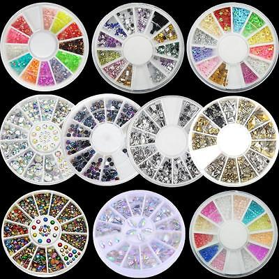 Cute Mixed Rhinestones Glitter Gem Nail Art Tips Wheel Decoration Manicure