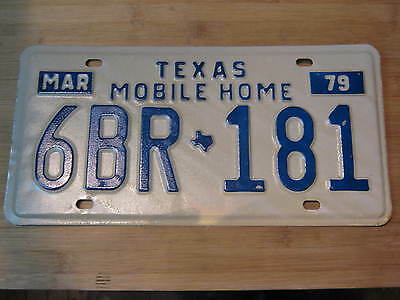 1979 Texas Mobile Home License Plate Expired 6Br 181