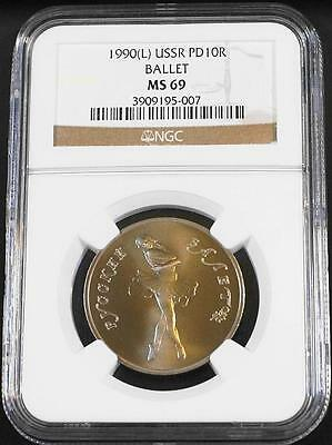 1990(L) 1/2 oz. 10 Roubles Russian Palladium Ballerina NGC MS 69 Freshly Graded