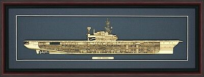 Wood Cutaway Model of USS Midway (CV-41) - Made in the USA