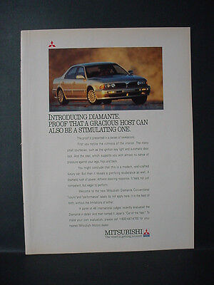 1991 Mitsubishi Diamante Car Automobile Gracious Host Vintage Print Ad 11318