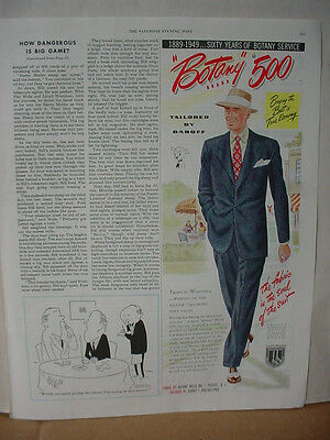 1949 Botany 500 Men's Suit Fashion Vintage Print Ad 10110