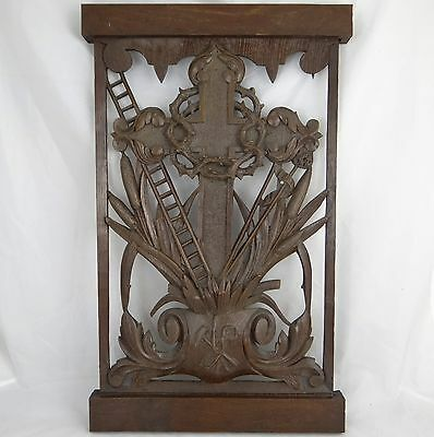 Antique French Carved Wood Panel Religious Style 19 th