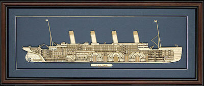 Wood Cutaway Model of RMS Titanic - Made in the USA
