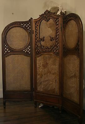 Mahogany Carved French Louis Style Tall Screen Room Divider with Rattan New
