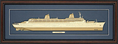 Wood Cutaway Model of SS Norway - Made in the USA