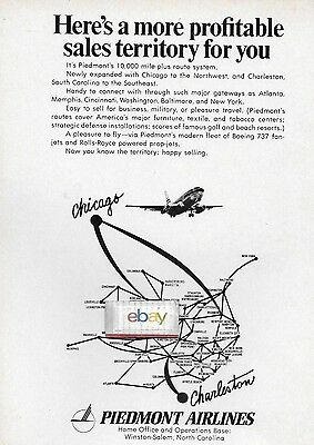 Piedmont Airlines 1970 2 New Cities Chicago & Charleston 737 Ad
