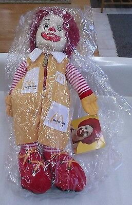 "Vintage Ronald McDonald 16"" Plush Toy Doll w/Zipper, Pockets 1984 New in Bag"