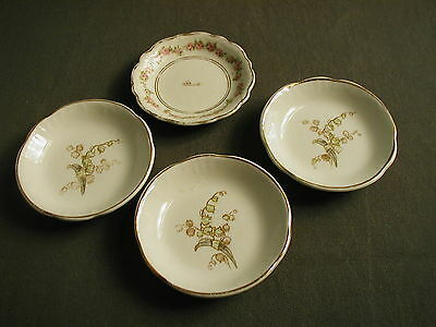 4 White Semi Porcelain Butter Pats - Johnson Bros - Royal - England - 3 Lily