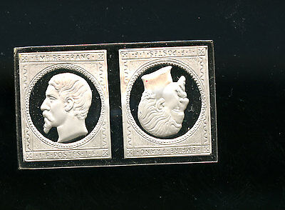 Sterling Silver Stamp France 1853 1 Fr. Napoleon Tete Beche 15.99 g E496