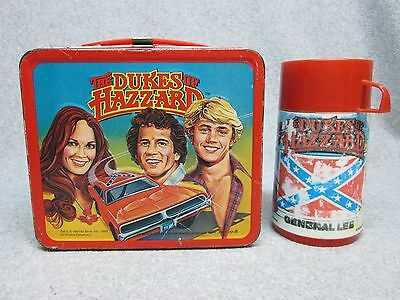 1980 DUKES OF HAZZARD Tv LUNCHBOX & THERMOS DoDge Charger General Lee Flag C#7.5