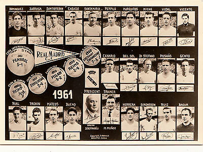 Real Madrid Football Team  1961  All Named + Trophies Won    Rp