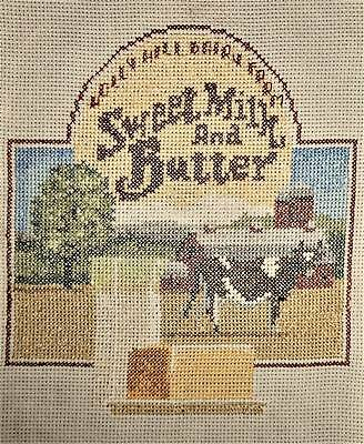 Butter Advertising Cow Farm Country Finished Completed Cross Stitch Sampler