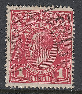 """1914 1d RED KGV, Variety: """"Kangaroo's tongue out"""", USED"""
