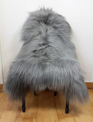 XXL Large Warm Ash Grey Colour Genuine Icelandic Sheepskin Long Real Fur Rug BN