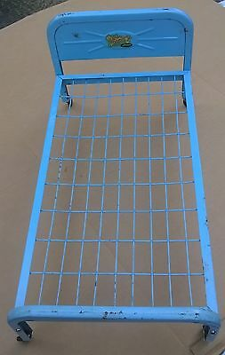 """1950's Amsco Doll-E-Bed Steel Baby Blue Baby Doll Bed 20"""" L x 11"""" H Well Loved"""