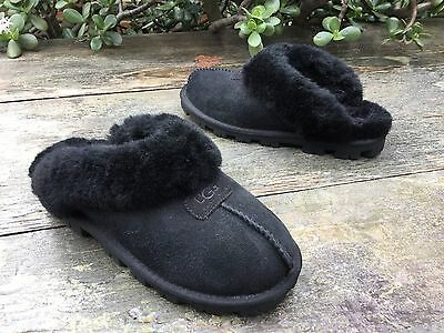 $120 UGG Australia Coquette Black Suede Slip On Slippers Flats Womens Size 7