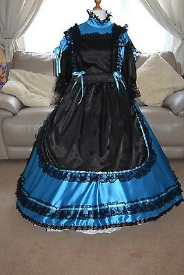 Amazing Long Blue Satin Adult Sissy Maids Dress with Black Apron size xxl
