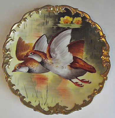 LIMOGES France GAME BIRDS PLATE CHARGER Hand-Painted PLAQUE ARTIST SIGNED FRANCE