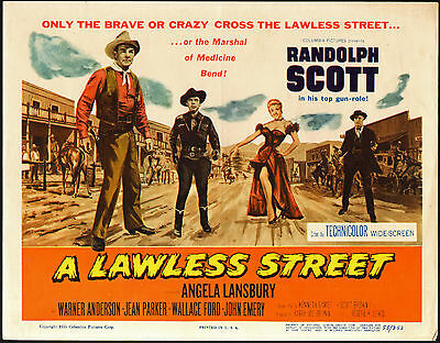 A LAWLESS STREET original 1955 movie poster RANDOLPH SCOTT/ANGELA LANSBURY