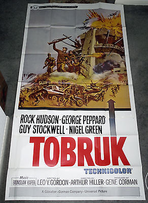ARMORED TANKS/TOBRUK original WW2 large 41x81 3-sheet movie poster ROCK HUDSON