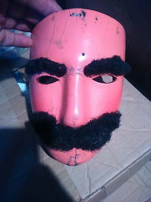 MEXICAN  LEATHER MASK  SUAVO  French Soldier for Carnival de Huejotzingo Danced