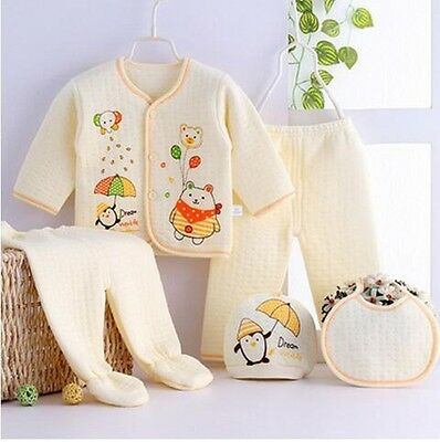 5pcs cotton Newborn Baby Clothes Sets Winter fall clothing accessories
